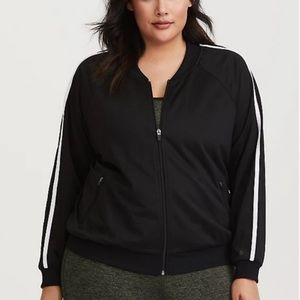 Torrid activewear black zip up with white stripes